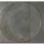 Dark Moon, 30 x 36, mixed media with metal on wood panel