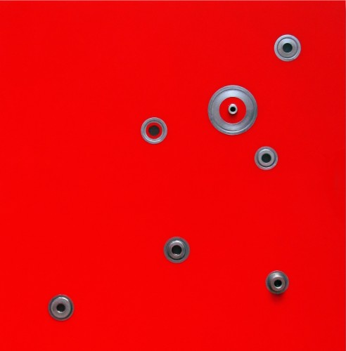 "Mauricio Morillas, ""Red Galaxy #2, 2014, mixed media with resin and metal on wood, 24 x 24 inches"